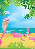 Portrait border with flamingos