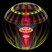 Abstract transparent 3D sphere with alien flowers on black background