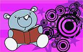 rhino baby cute reading cartoon