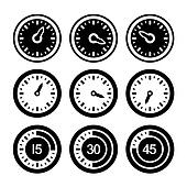 Dial and Timers Icons Set.