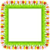 vector square frame of colorful spring tulips in grass