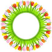 vector round frame of colorful spring tulips in grass