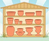 Storage Shed, Flowerpots, Pottery