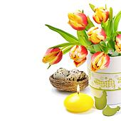 Easter set with spring tulips and candle