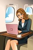 Businesswoman in the airplane