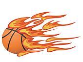 basketball with flame