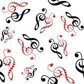 hearts violin clef seamless