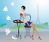 Girl in Paris street cafe