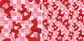 seamless pattern with toys red hors