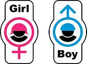 vector boy girl toilet symbols