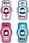 vector boy girl toilet stickers
