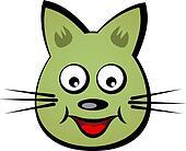 vector cartoon smiling face cat
