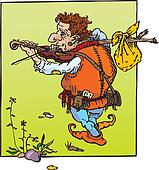 little hunchback playing violin.