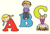 Children playing. alphabet