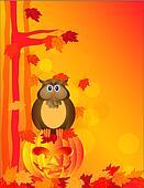 Halloween Owl Sitting on Pumpkin in Forest Illustration