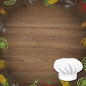Wooden Background With Drawn Vegetables And Cook Cap