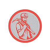 Metallic Coal Miner Hardhat Holding Pick Axe Circle Woodcut