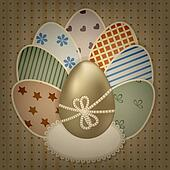 vector  easter greeting card with golden and retro colorful eggs on lacy napkin