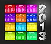 Colorful calendar for 2013.