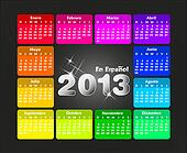 Colorful calendar 2013 in spanish.