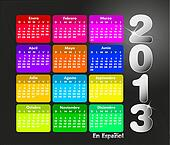 Colorful calendar 2013 in spanish