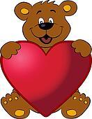 Happy bear with heart