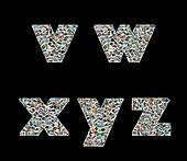 V,W ,X,Y and Z literas made like collage of travel photos