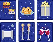 holiday purim icons on the blue