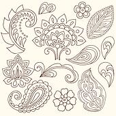 Henna Paisley Tattoo Doodles Vector