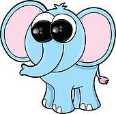 Silly Blue Elephant Vector
