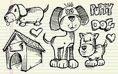 Doodle Sketch Puppy Dog Vector