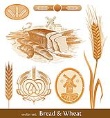 Vector set - bread and wheat