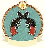 Western revolvers and sheriff star.Vector label illustration for text