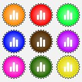 Growth and development concept. graph of Rate icon sign. A set of nine different colored labels.