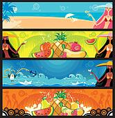 Vector vacation banners set