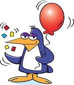 Penguin Holding a Balloon