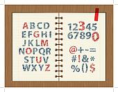 Sheet with sketch of letters and symbols for your design