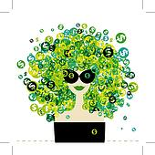 Woman portrait with dollar signs hairstyle for your design