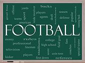 Football Word Cloud Concept on a Blackboard