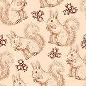Seamless pattern with squirrels and nuts