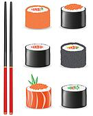 sushi set icons vector illustration