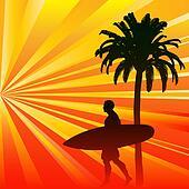 Tropical Surfer Background