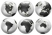 Six different positions globes isolated on white