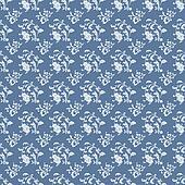 White Floral Damask on Blue