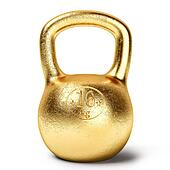 Golden kettlebell weight