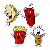 Fast Food Treat Cartoon Mascots