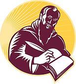 Saint Jerome Writing Scroll Retro W