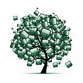 Green stone tree for your design