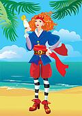 Pirate red haired girl with parrot