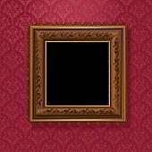 picture frame on vintage wallpaper